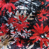 Floral Print Scarf - Red/Black