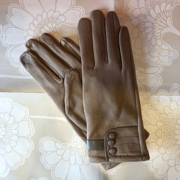 Touch Screen Glove with Buttons - Taupe