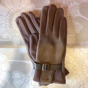 Touch Screen Glove with Buckle - Taupe