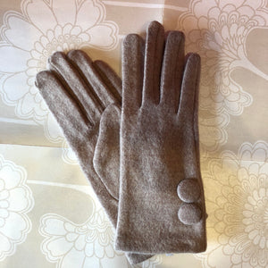 Woven Glove with Big Buttons - Taupe
