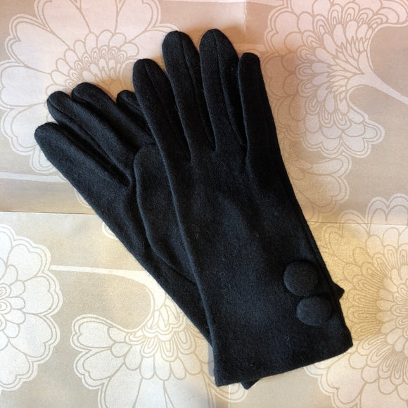 Woven Glove with Big Buttons - Black