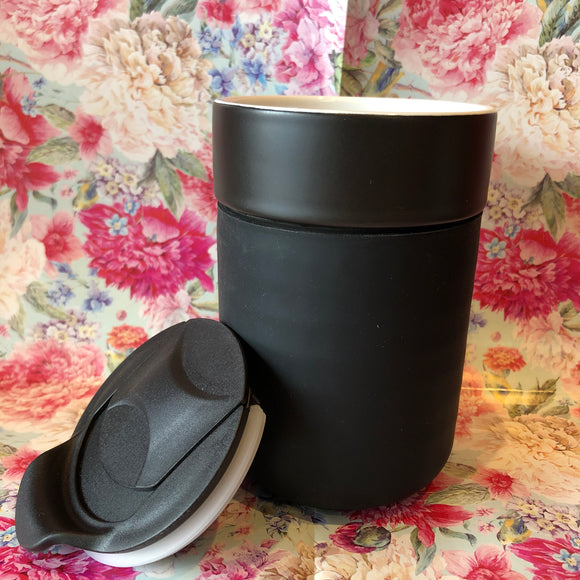 Reusable Ceramic Travel Cup - Black