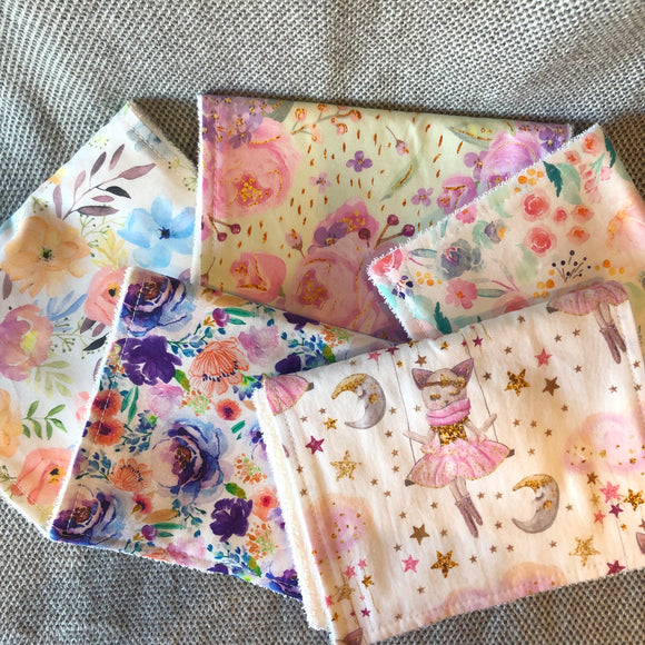 Burp Cloth Bundle (5 Pack) - Ballerinas & Blooms