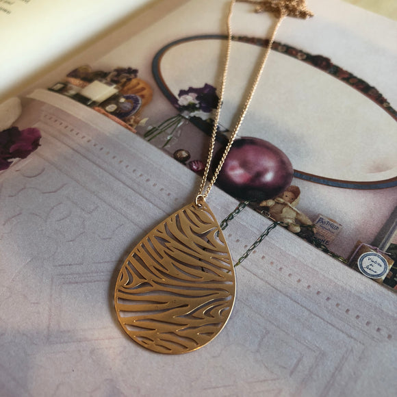 Rose Gold Zebra Teardrop Necklace