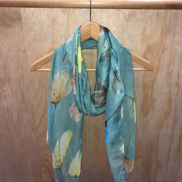 Falling Leaves Scarf - Teal Green