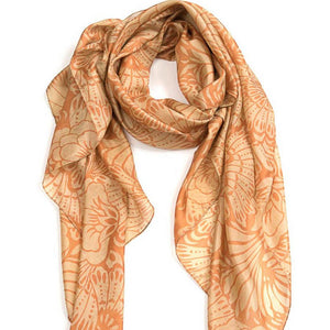 Japanese Flower Scarf - Coffee