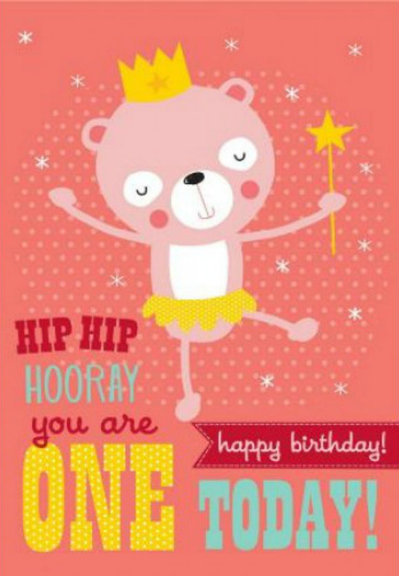 Pink Bear First Birthday Card