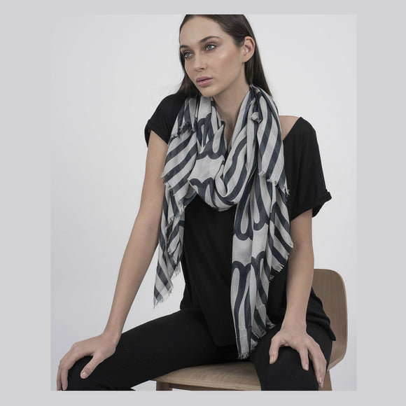 Indus Design Long Loops Scarf - Storm Grey/Natural