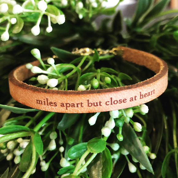 Miles Apart But Close At Heart Leather Bracelet