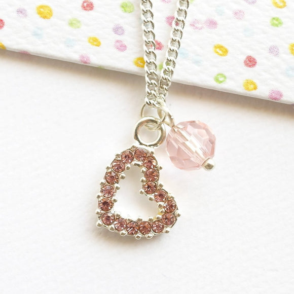 Pink Crystal Heart Necklace - Silver