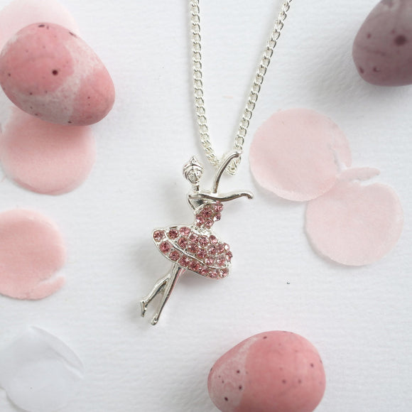 Pink Ballerina Necklace - Silver