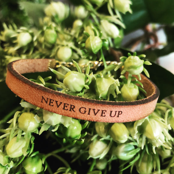 Never Give Up Leather Bracelet