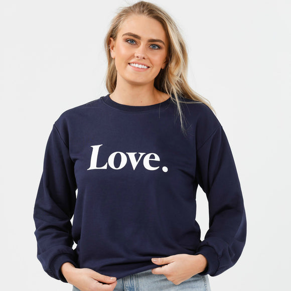 Henley Sweat Love - Navy/White