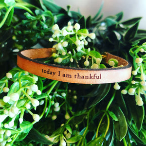 Today I Am Thankful Leather Bracelet