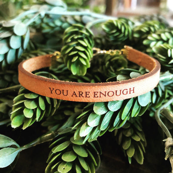 You Are Enough Leather Bracelet