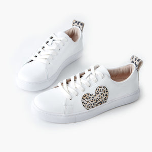 SALE! Walnut Heart Leather Sneaker - Honey Leopard