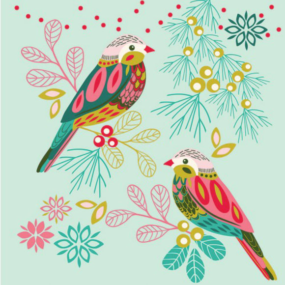 Bright Patterned Birds Card
