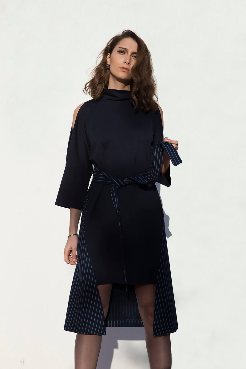 Robe à rayures bleue