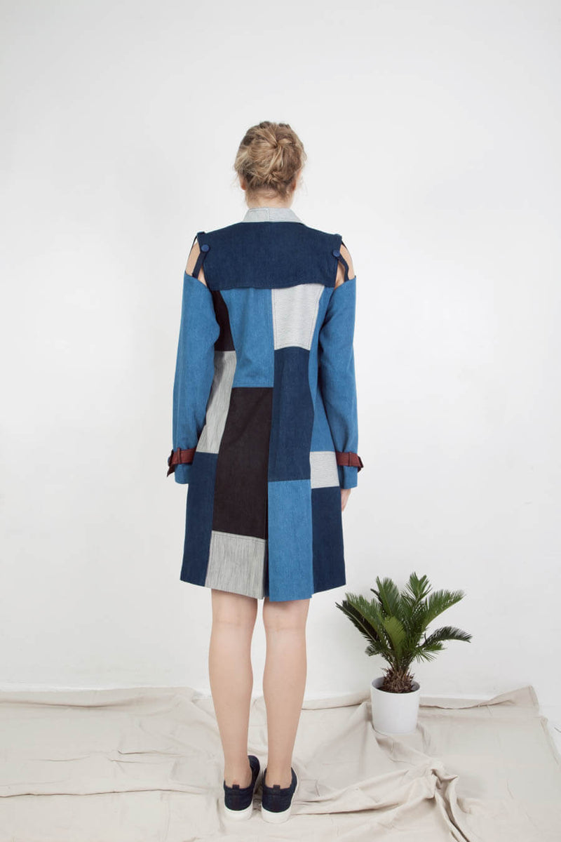 Trench Patchwork avec manches amovibles