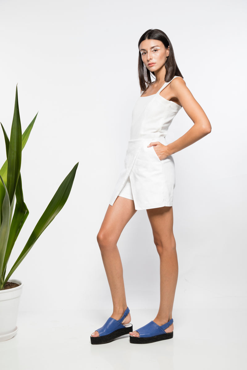 Short-Jupe Blanc Taille Haute