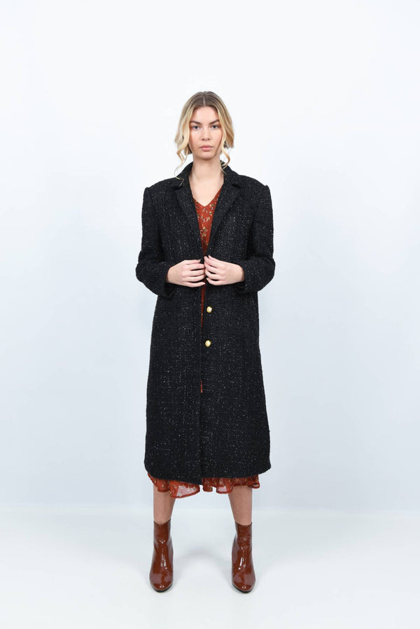 Manteau long en tweed noir aux reflets irisés