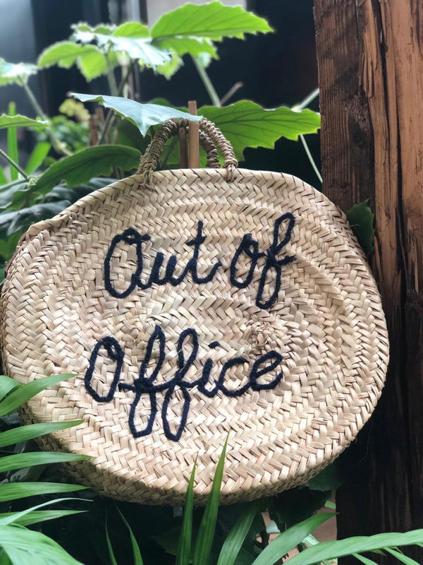 "Panier rond en Osier ""Out Of Office"""