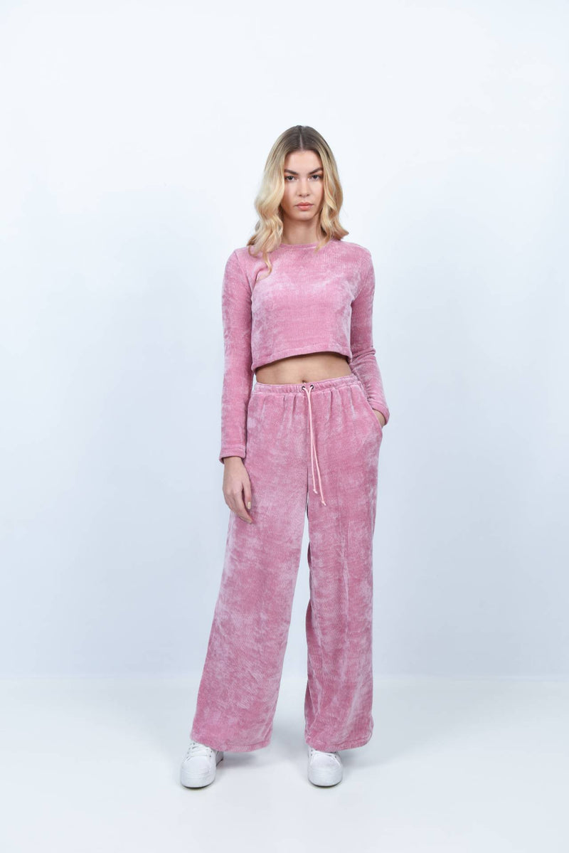 Pantalon en velours côtelé rose