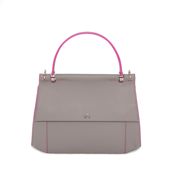 Sac Cartable en cuir gris