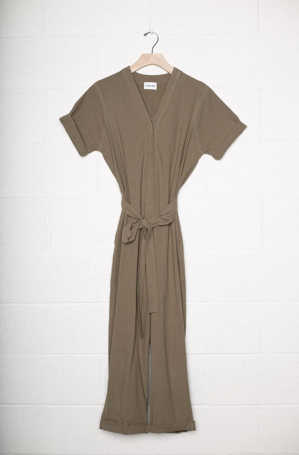 Denim Button Front Jumpsuit w/Self Tie - Olive by no less than - COMMON DEAR