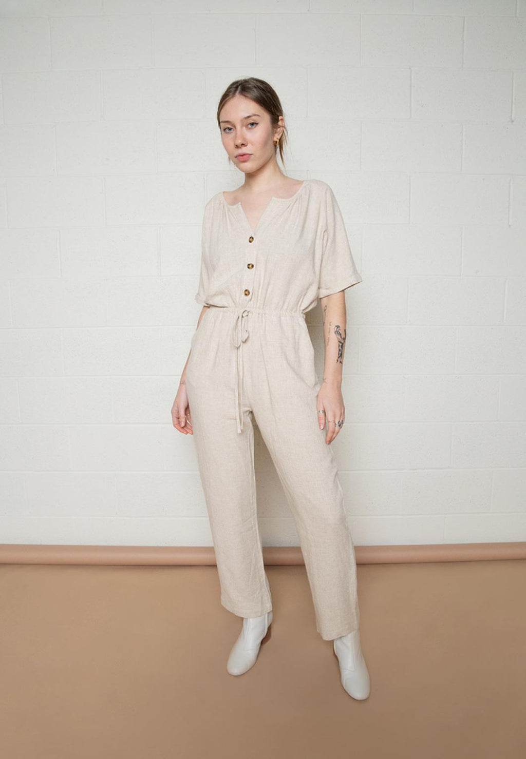 Mid Sleeve Jumpsuit with Button Front and Elastic Tie at Waist - Oatmeal by no less than - COMMON DEAR