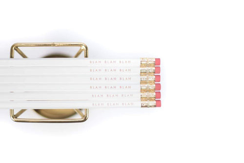 Blah Blah Blah Gold Foil Pencils - Common Dear