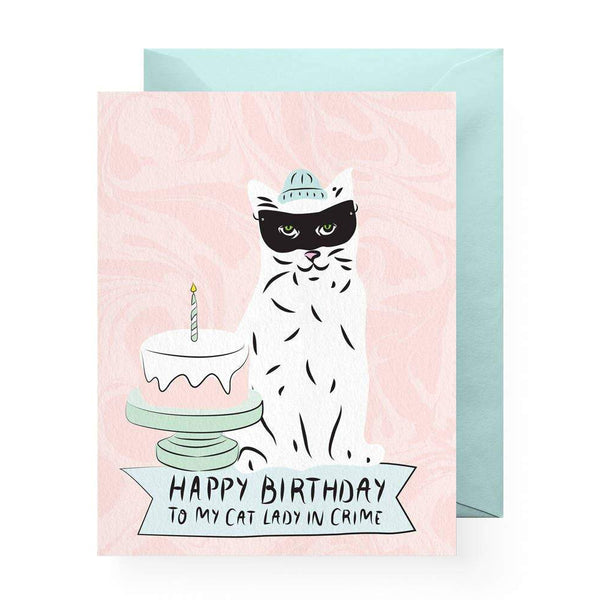 Cat Lady In Crime Greeting Card by Boss Dotty Paper Co - COMMON DEAR