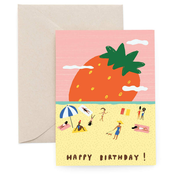 Strawberry Beach Greeting Card by Carolyn Suzuki - COMMON DEAR