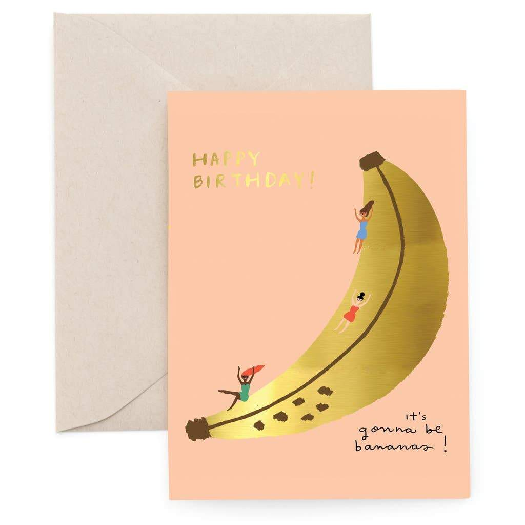 Banana Slide Foil Greeting Card by Carolyn Suzuki - COMMON DEAR