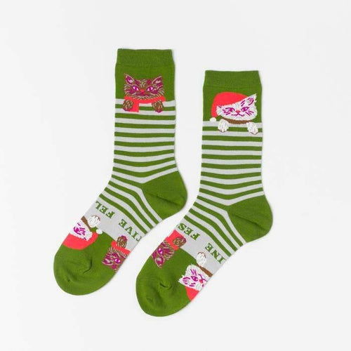 Feline Festival Women's Crew Socks - Common Dear