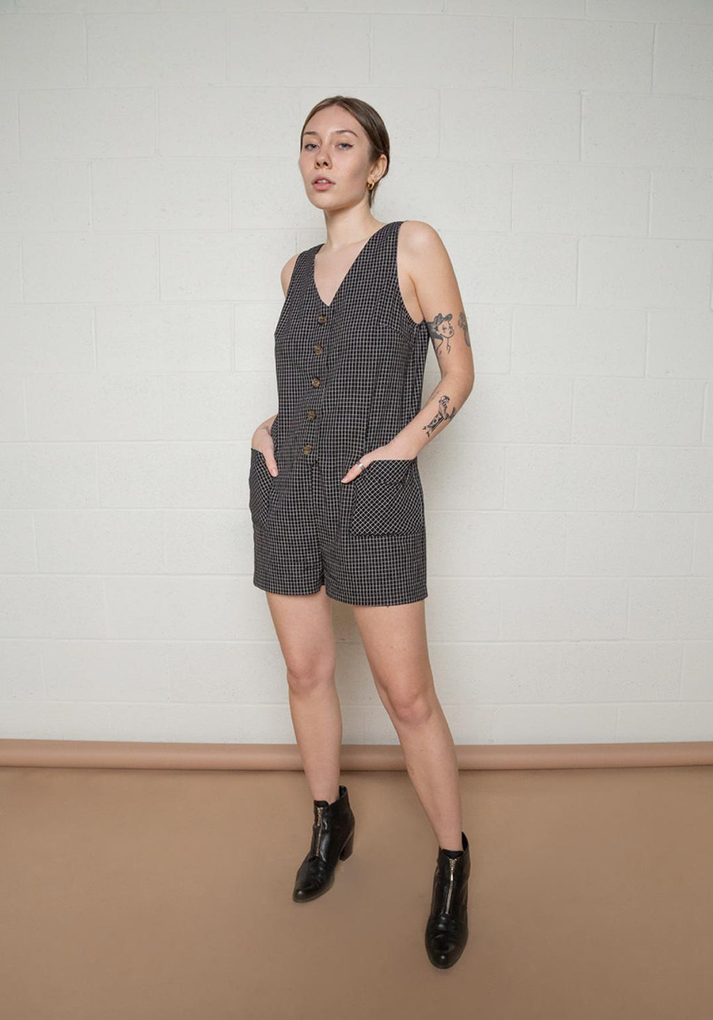 Sleeveless Button Front Jumper - Black by no less than - COMMON DEAR