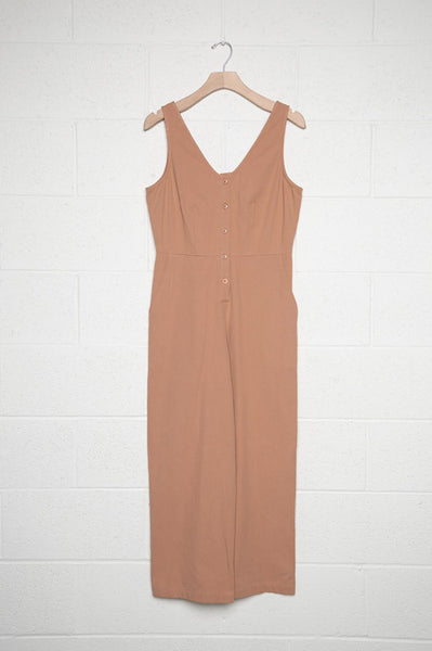 Sleeveless Denim Button Front Jumpsuit - Brick by no less than - COMMON DEAR