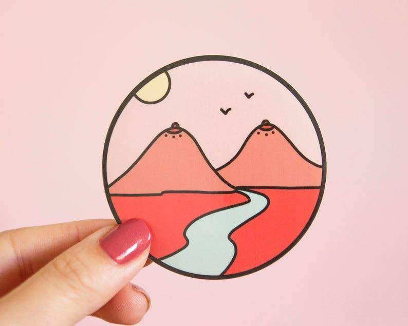 Boob Mountains Vinyl Sticker by Little Woman Goods - COMMON DEAR