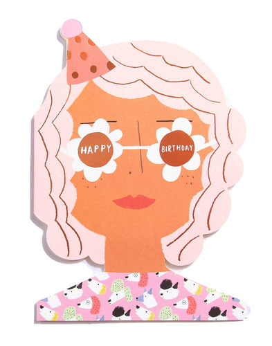 Party Girl Die Cut Greeting Card by Carolyn Suzuki - COMMON DEAR