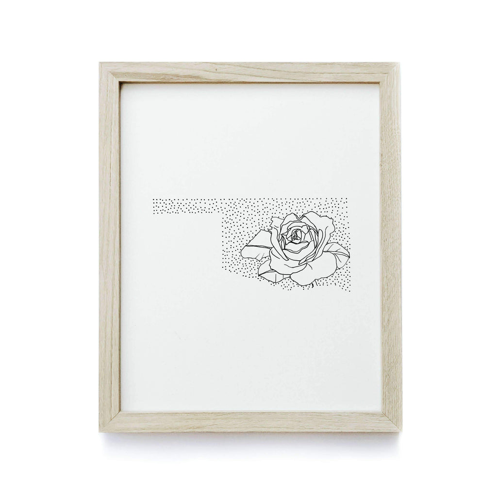 Oklahoma Rose Drawing Art Print by Anna Tovar - COMMON DEAR