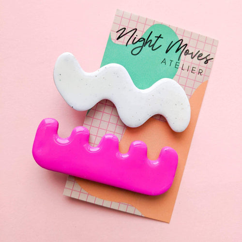 Bright Babe Squiggle Hair Clip Duo - Common Dear