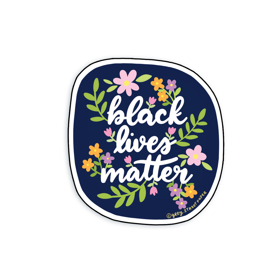 Black Lives Matter BLM Floral Sticker