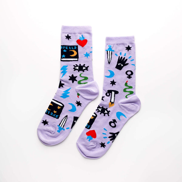 Mystic Spells Women's Crew Socks by Yellow Owl Workshop - COMMON DEAR