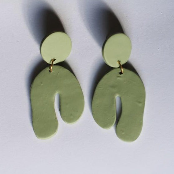 Green Abstract Arch Dangle Earrings by Midwest Maven - COMMON DEAR