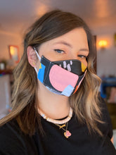 Load image into Gallery viewer, Made To Order - Pink and Orange Stripes Cotton Face Mask