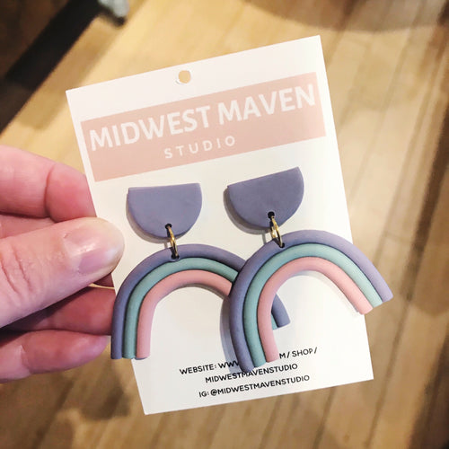 Pastel Rainbow Dangle Earrings-Jewelry-Midwest Maven-COMMON DEAR