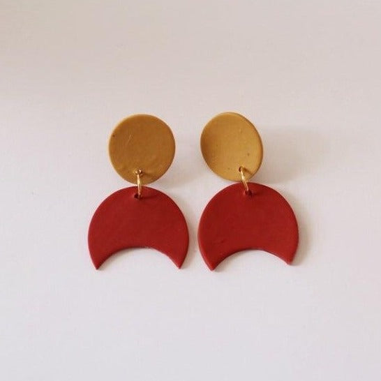 Marigold and Red Crescent Dangle Earrings by Midwest Maven - COMMON DEAR