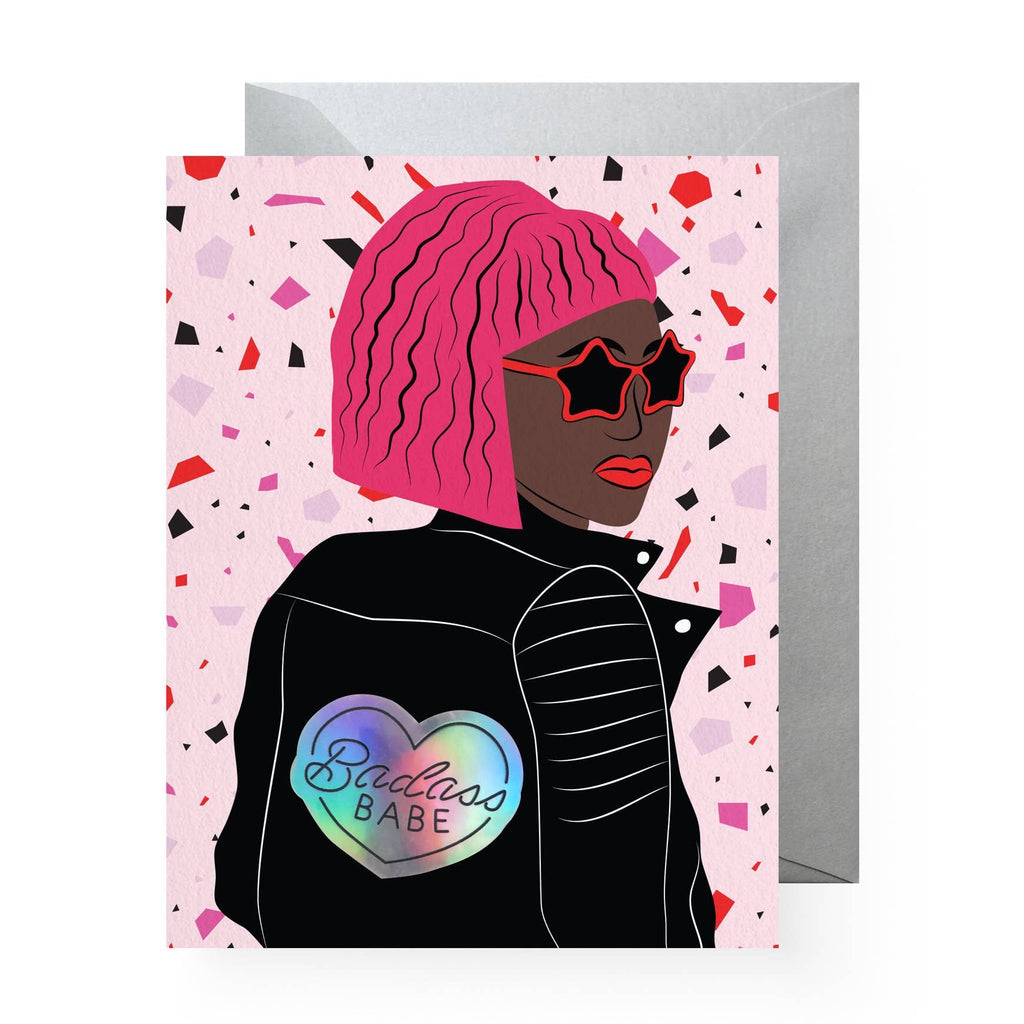 Badass Babe Sticker Greeting Card by Boss Dotty Paper Co - COMMON DEAR