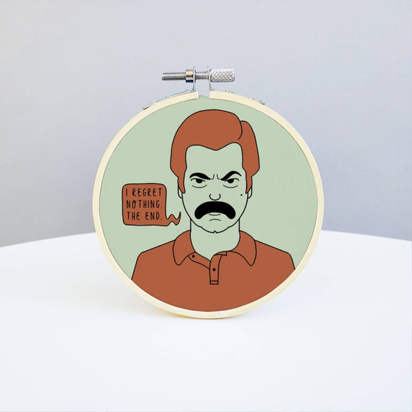 Ron Swanson Embroidery Kit by Holly Oddly - COMMON DEAR