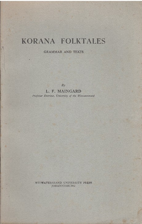 KORANA FOLKTALES, grammar and texts